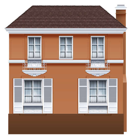 simple house: A residential building on a white background
