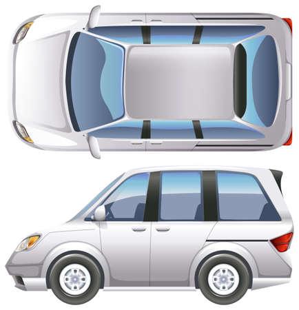 minivan: A topview of a minivan on a white background Illustration