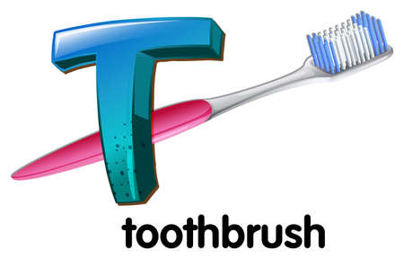 capitalized: An image showing a letter T for toothbrush on a white background
