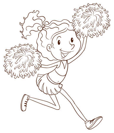cheerleading: A plain drawing of a cheerleader on a white background