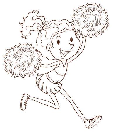 porrista: Un dibujo simple de una animadora en un fondo blanco