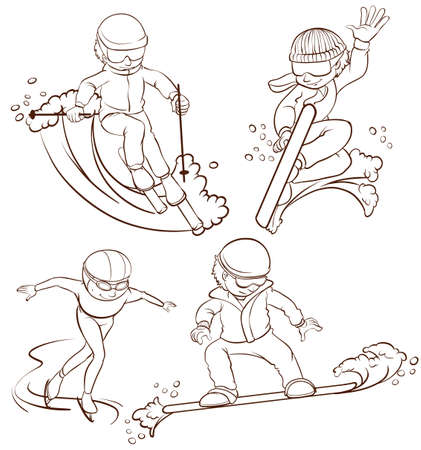 rollerskate: A plain sketch of the people doing wintersport on a white background Illustration