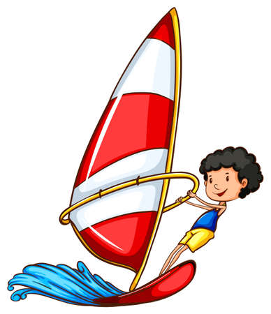 wavelengths: A simple drawing of a boy sailing on a white background