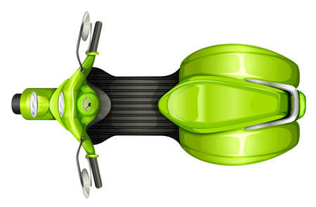 a two wheeled vehicle: A topview of a green scooter on a white background