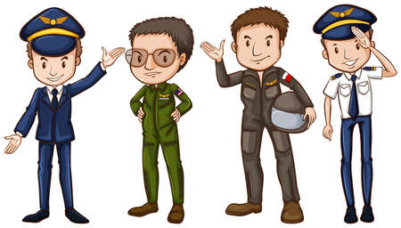 A simple drawing of the four pilots on a white background