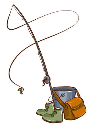 fishing lure: Materials used for fishing on a white background Illustration