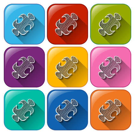 Colourful buttons with mathematical figure on a white background Vector
