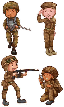army men: Four brave soldiers on a white background