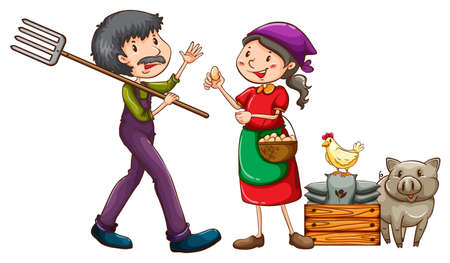 A farmer with a rake and a vendor with a basket of eggs on a white background Vector
