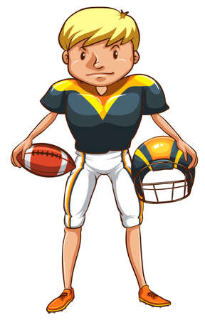 contestant: A simple drawing of a male American football player on a white background