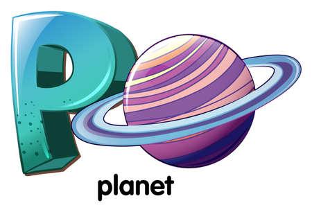 milkyway: Een afbeelding van een planeet voor de letter P op een witte achtergrond Stock Illustratie