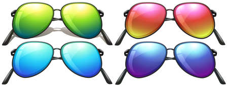 Four neon-coloured sunglasses on a white background Vector