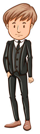attire: A simple drawing of a man wearing a formal attire on a white background Illustration