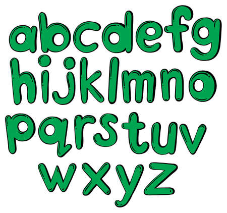 Green letters of the alphabet on a white background