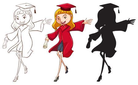 educated: A girl graduating in three different colours on a white background