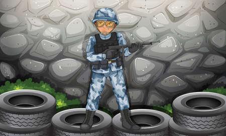 A brave soldier holding a gun