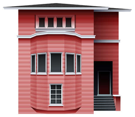 A pink building on a white background Vector
