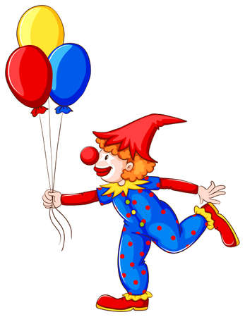 A coloured drawing of a clown with balloons on a white background Vector