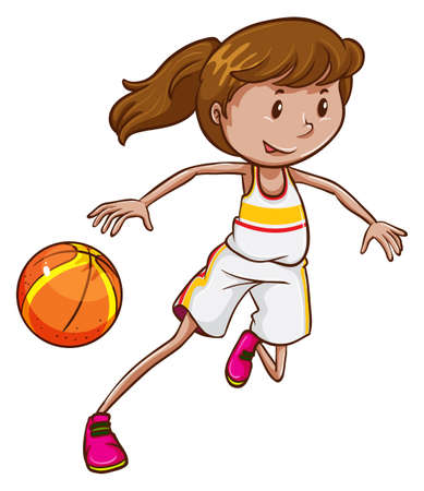 contingent: A female basketball player on a white background