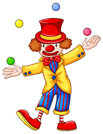 A coloured drawing of a clown juggling on a white background Vector