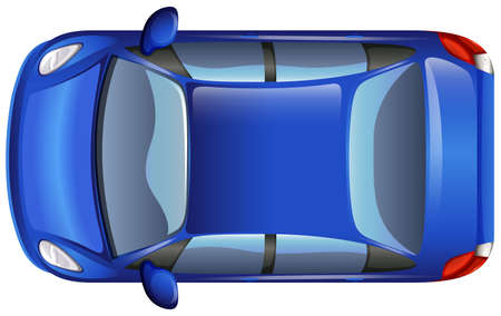 car tire: A topview of a blue car on a white background