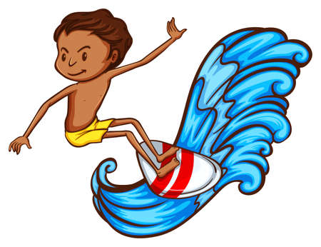 watersports: A simple drawing of a boy enjoying the watersport on a white background