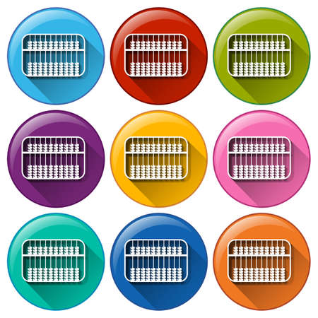 Buttons with an abacus on a white background Vector