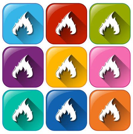 gaseous: Buttons with flames on a white background