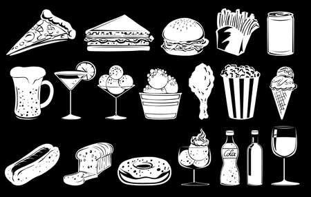 frozen drink: Doodle design of foods on a black background Illustration