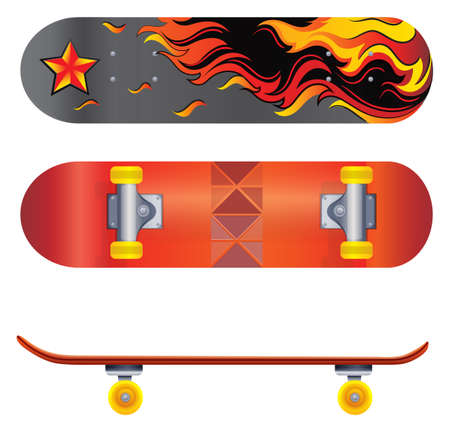 rollers: A colorful skateboard on a white background
