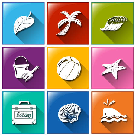 wavelengths: Icons with the different objects for summer on a white background