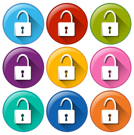 locks: Colourful round lock buttons on a white background