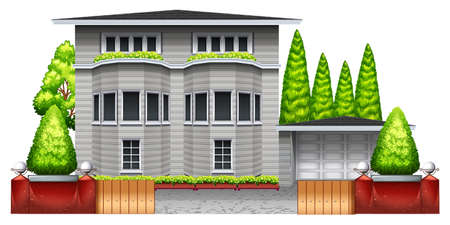 plantae: A big grey house with plants and trees on a white background