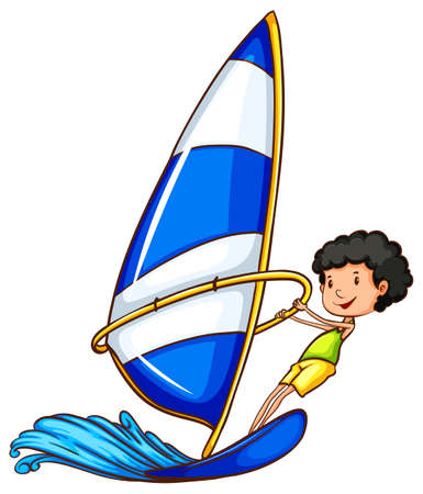 watersports: A coloured sketch of a boy enjoying the watersport on a white background