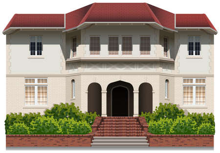detached house: A very big building with plants on a white background