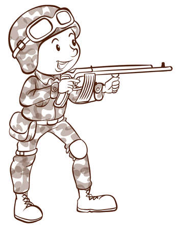 man gun: A plain drawing of a soldier holding a gun on a white background