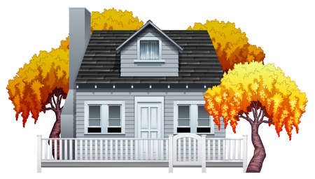 window shade: A big house with fence on a white background