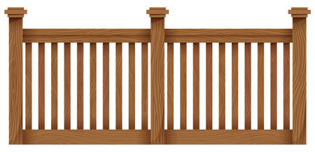 panelling: A wooden fence on a white background Illustration