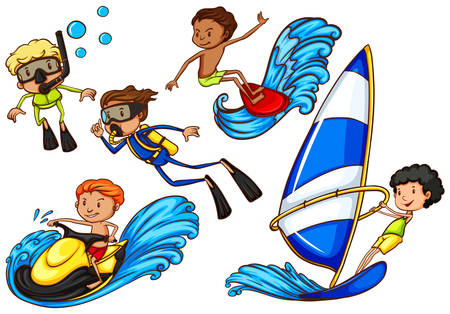 watersports: Sketch of the boys enjoying the watersport activities on a white background