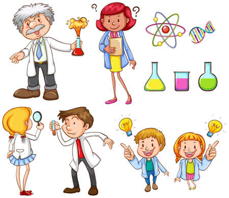 Un dessin des gens qui font différentes activités scientifiques sur un fond blanc Banque d'images - 33719237