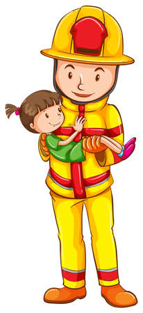 rescuing: A simple sketch of a fireman rescuing a little girl on a white background Illustration
