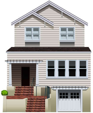 house drawing: A big concrete house on a white background Illustration