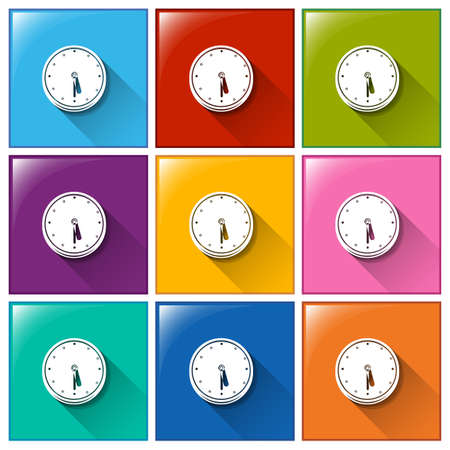 electromechanical: Colourful icons with wall clocks on a white background