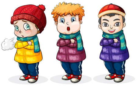 warmer: Three little boys on a white background Illustration