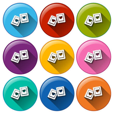 postoffice: Colourful stamp buttons on a white background Illustration