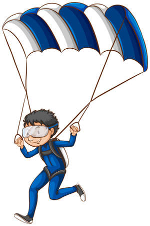 A drawing of a pilot with a parachute on a white background