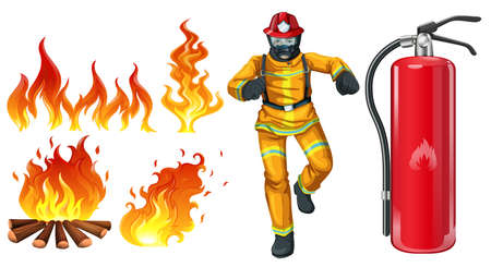 A fireman with a fire extinguisher on a white background Stock Illustratie