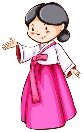 simple girl: A coloured drawing of a female Asian on a white background