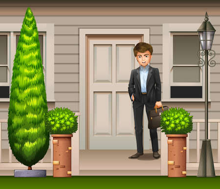 window case: A man in front of their house