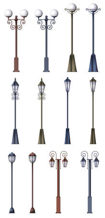 street lamp: Different lamp designs on a white background